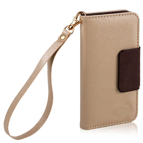 Mylife (Tm) Tan And Brown Matte Design - Textured Koskin Faux Leather (Lanyard Strap + Card And Id Holder + Magnetic Detachable Closing) Slim Wallet For Iphone 4/4S (4G) 4Th Generation Touch Phone (External Rugged Synthetic Leather With Magnetic Clip + In