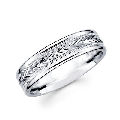 Solid 14k White Gold Ladies Mens Milgrain Arrow Design Wedding Ring Band 6MM Size 8.5