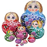 10pcs Wooden Russian Nesting Babushka Matryoshka Dolls Set Hand Painted 15cm