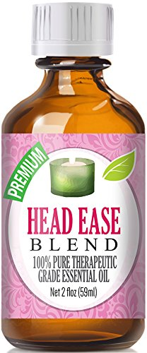 Head Ease 100% Pure, Best Therapeutic Grade Essential Oil Blend - 60ml / 2 (oz) Ounces - Comparable to DoTerra's PastTense & Young Living's M-Grain Blend - French Lavender, Peppermint, Wintergreen, Basil, Frankincense, Rosemary, Sweet Marjoram, Sweet Oran