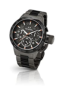 TW Steel TW313 Canteen - Reloj de pulsera en acero, correa de acero color gris negro