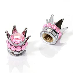 See 2 Motorcycle Bike Chrome Crown Light Pink Bling Diamond Tire/Wheel Valve Caps Details