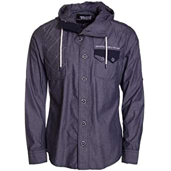 Mens Henleys Hoodie Hooded Quality Smart Casual Shirt Roll up sleeve option (S)