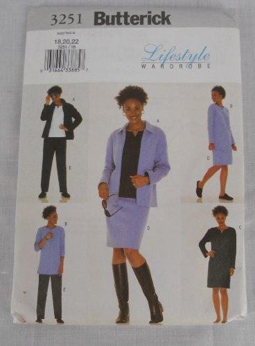 Butterick 3251 Lifestyle Wardrobe Pattern Dress Skirt Jacket Top 18 20 22