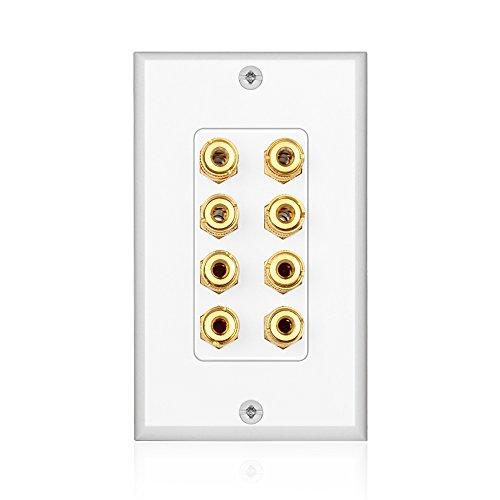 TNP Home Theater Speaker Wall Plate Outlet - 4 Speaker Sound Audio Distribution Panel Gold Plated Copper Banana Plug Binding Post Connector Insert Jack Coupler (4 Pair, Single Gang, White) (Banana Jack Post compare prices)