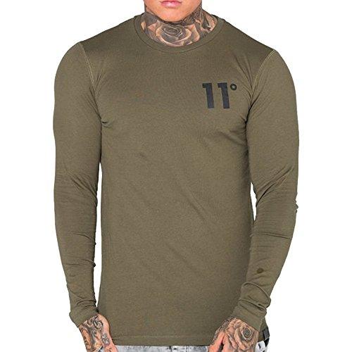 11-degrees-t-shirt-maniche-lunghe-uomo-khaki-medium
