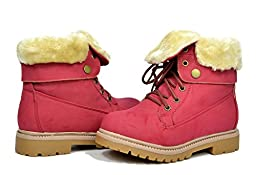Dream Pairs KLUG New Kid\'s Foldable Fur Cuff Lace Up Ankle Hiking Winter Outdoor Snow Boots (Toddler/Little Kid/Big Kid) Red Size 9