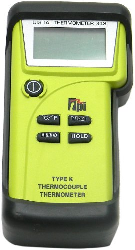 TPI 343/C3 Water Resistant, Dual-input, K-Type Thermocouple Thermometer with Tilt Stand Boot, Carrying Case with Shoulder Strap, Pipe Clamp Temperature Probes, and K-Type Thermocouple Probes with Sub-mini Connection, -50 to 1350 Degrees C, -58 to 2462 Degrees F, Accuracy of + or – 0.3% of Reading Plus 1 Degree C
