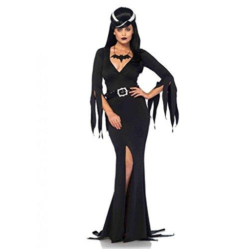 [Elvira Immortal Mistress Body Hugging Dress Outfit Adult Halloween Party Costume Large] (Halloween Costumes Elvira)