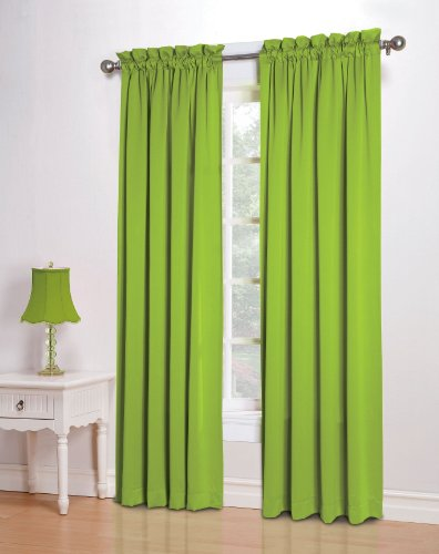 Sun Zero Barrow 54 by 84-Inch Room Darkening Curtain Panel, Lime