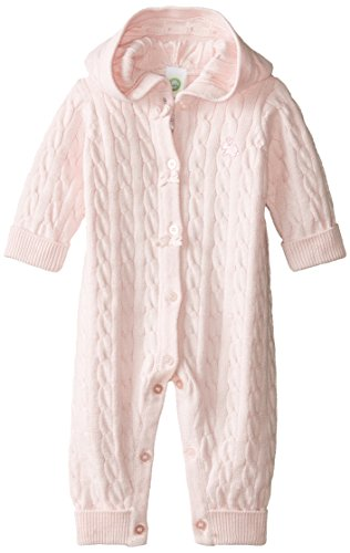 Little Me Baby-Girls Newborn Cable Coverall, Light Pink, 6 Months