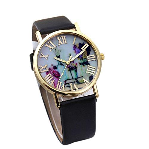 Suppion Women Fashion Vases Dial Leather Band Quartz Analog Wrist Watches Black