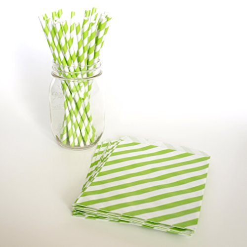 Striped Milkshake Straws, Green Paper Bags, Beverage Straw, Kids Goodie Bags, 2 Combo Party Supply Kit - Green Striped