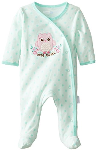 Vitamins Baby Baby-Girls Newborn Wide Awake Owl Footed Coverall, Green, New Born