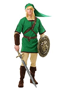 Charades Men's Elf Warrior Costume Set, Green/Brown, Medium
