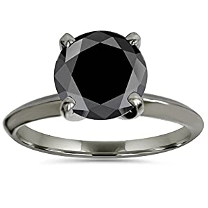 2.00CT Black Solitaire AAA Round Engagement Ring 14k Black Gold