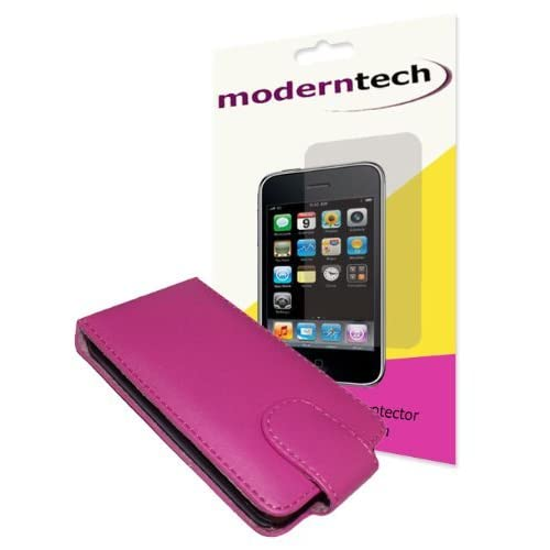 Modern Tech Pink Leather Flip Case and Screen Protector for Apple iPod Touch 2G/ 3G