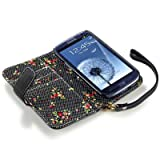Samsung i9300 Galaxy S3 Premium PU Leather Wallet Case with Floral Interior (Black)
