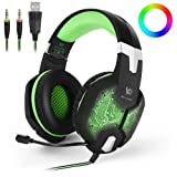 HITSAN INCORPORATION KOTION Each G1000 Professional 3.5mm Plug Bass Stereo Gaming Headphone with Microphone & Colorful LED Light, for PS4, Smartphone, Tablet, Computer, Notebook(Green) (Color: Clear, Tamaño: Standard)