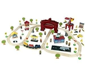 Circo deluxe wooden railway train set with drawbridge