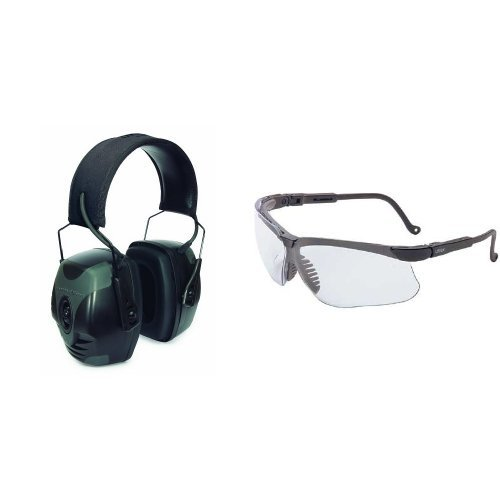 Howard Leight by Honeywell Impact Pro Sound Amplification Electronic Earmuff (R-01902) with Sharp-Shooter Safety Eyewear, Clear Lens (R-03570)