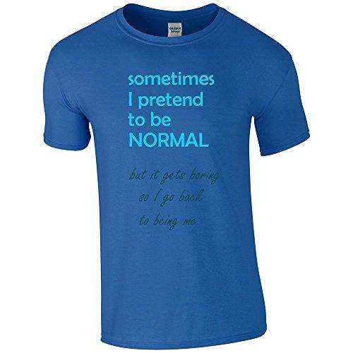 Divertente 018, I Pretend to be Normal, Royal Gildan Softstyle Youth Ringspun T-shirt Blu Bambino Ragazze Maglietta Kids Girls Tee Top con Design Colorato. Taglia X-Large, 12-14 Anni.