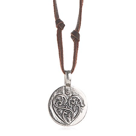 Sterling Silver Heart and Soul Leather Necklace