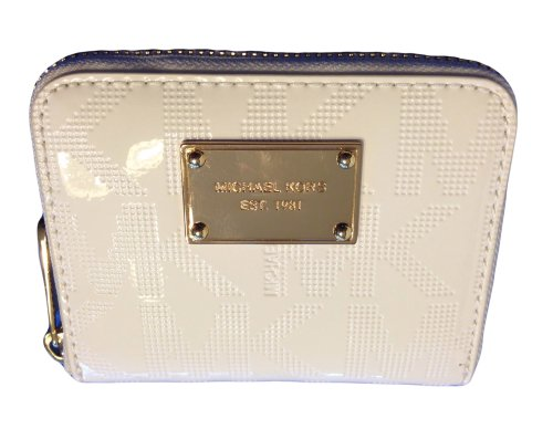 Michael Kors Za Bifold Wallet Mirror Metallic White Signature Pvc