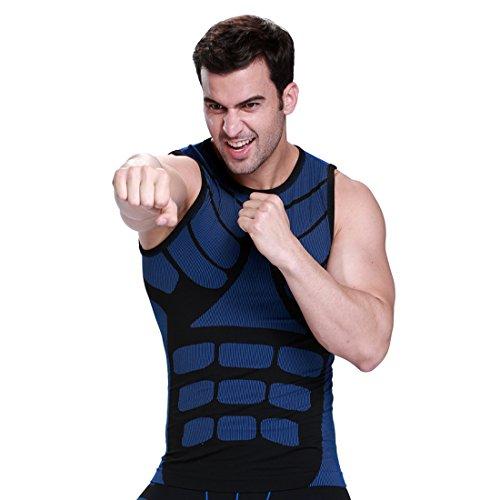 ZEROBODYS Mens Outdoor asciugatura rapida Gilet Vest Sport Esecuzione Abbigliamento SS-M08 (Blu, L)