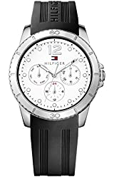 Tommy Hilfiger 1781580 White Dial Chrono Black Rubber Strap Ladies Watch