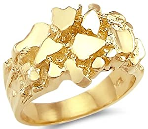 Size- 10 - New 14k Solid Yellow Gold Large Mens Nugget Ring Band