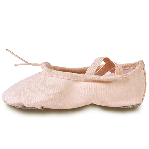 YYXR Little Kid Girls Classic Pale Apricot Canvas split-sole Ballet Slippers Dance Gymnastics Yoga Shoes Flats Size 12M US Little Kid (12 Split compare prices)