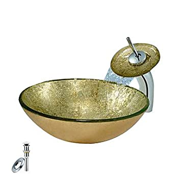 Din Golden Round Tempered glass Vessel Sink With Waterfall Faucet, Mounting Ring and Water Drain