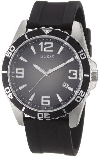 Guess W80054G1 - Reloj analógico de cuarzo para hombre con correa de caucho, color negro