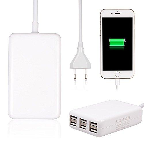 [Quick Charger 2.0] Rephoenix Caricabatteria USB da Tavolo 6 Port USB Charger 2.1A uscita, ad alta velocità con Power Smart Technology Desktop Travel Charger compatibile con la maggior parte dei cellulari e tablet PC - Bianco