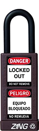 "Zing RecycLock Lockout/Tagout Padlock, Keyed Alike, 3"" Body Length, 1-1/2"" Shackle Clearance"