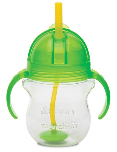 Munchkin Click Lock Weighted Flexi Straw Trainer Cup, Green, 7 Ounce