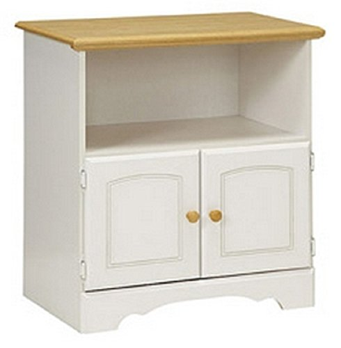 Microwave / Utility Stand Features A Pristine White And Maple Finish
