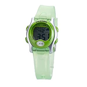 Foxnovo PASNEW PSE-243 Waterproof Children Boys Girls LED Digital Sports Wrist Watch with Date /Week /Alarm /Stopwatch (Green)