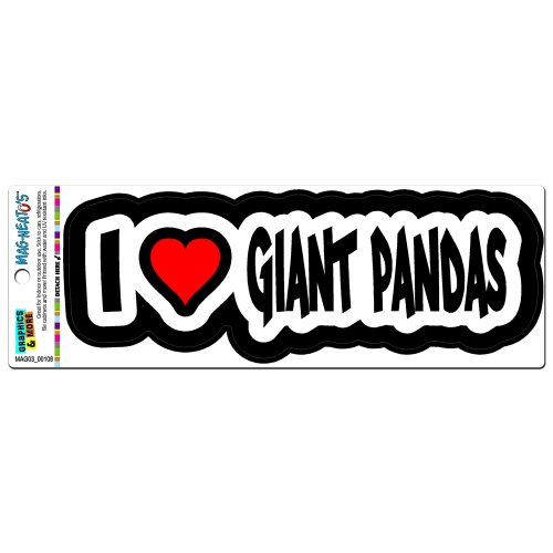 I Love Heart Giant Pandas - Bears Mag-Neato'Stm Automotive Car Refrigerator Locker Vinyl Magnet front-619516