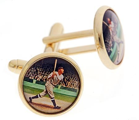 JJ Weston gold plated 1920's baseball player cufflinks with presentation box. Made in the U.S.A
