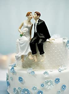 Whimsical Sitting Bride and Groom - Caucasion 6080