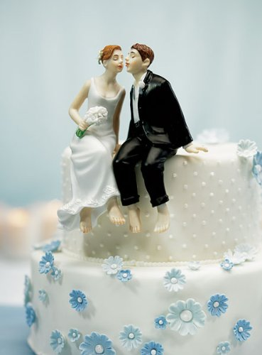 Whimsical Sitting Bride and Groom Cake Topper Style 6080