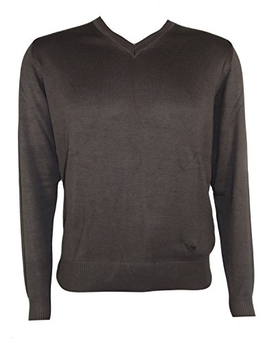 Emporio Armani-Maglione da uomo, colore: marrone, %2F, colore: marrone, con Logo Armani con collo a V, a maniche lunghe, in 100% cotone-Nuovo con etichetta, confezione originale marrone Medium