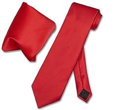 Vesuvio Napoli Solid RED NeckTie & Handkerchief Men's Neck Tie Set
