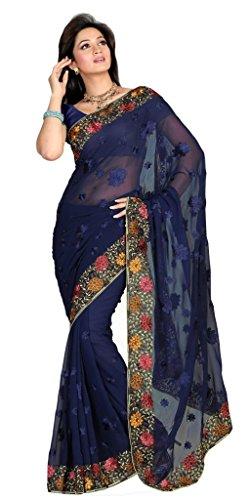 Ishin Rajshahi Floral Print Chiffon Sari