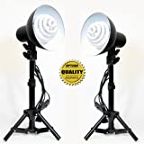 Opteka PSK50 (2 Pack) Personal Table Top Studio Lighting Kit Includes: 2 x 30 Watts Fluorescent Light-Bulbs, 2 x light Stands, 2 x Photo Reflectors with Light Holders