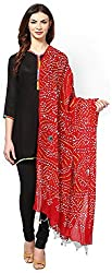 Apratim Womens red Cotton Bandhani dupatta with mirror work