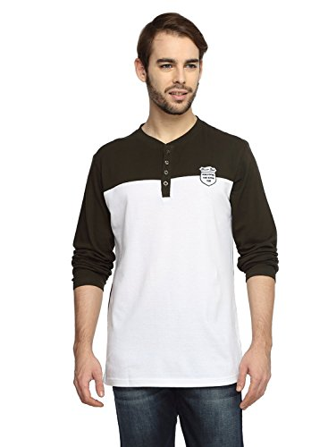 Teen Tees Men's Cotton Pique Embroidered Coffee Brown with White Colour Full Sleeves Henley Neck Tshirt