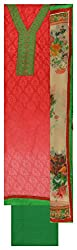 Punjaban Boutique Women's Cotton Unstitched Dress Material (Red and Green)